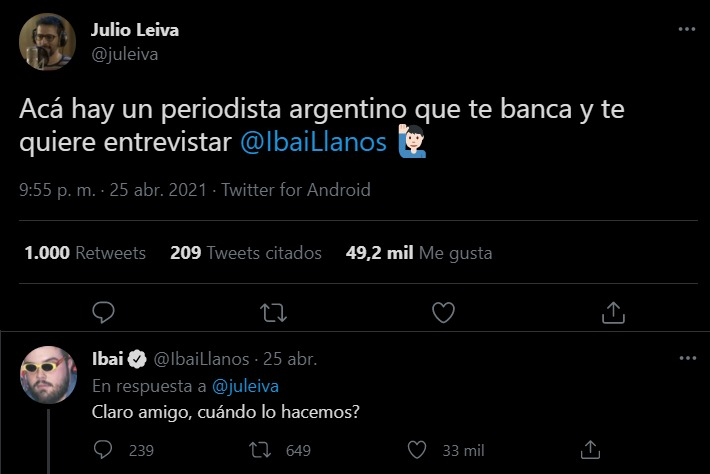 Tweet Julio Leiva